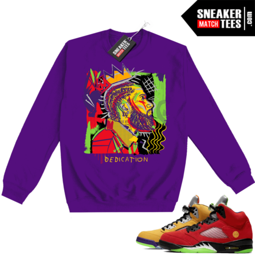 What the 5s Sweatshirt Crewneck Purple Nipsey Basquiat