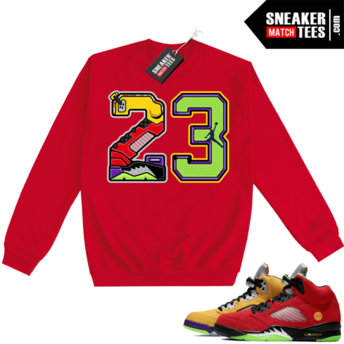 What the 5s Sweatshirt Crewneck Red 23