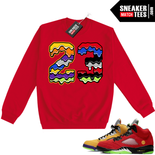 What the 5s Sweatshirt Crewneck Red 23 Drip