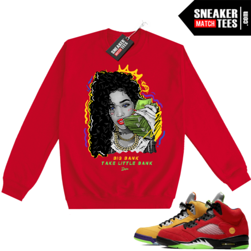 What the 5s Sweatshirt Crewneck Red Big Bank