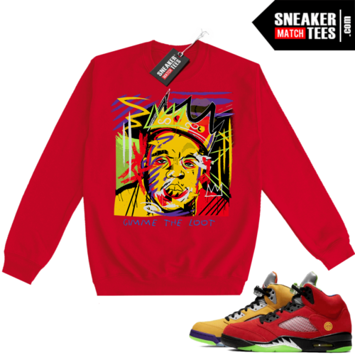 What the 5s Sweatshirt Crewneck Red Biggie Basquiat