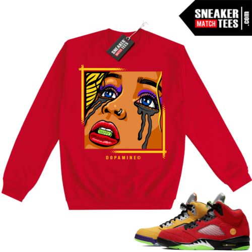 What the 5s Sweatshirt Crewneck Red DOPAMINE