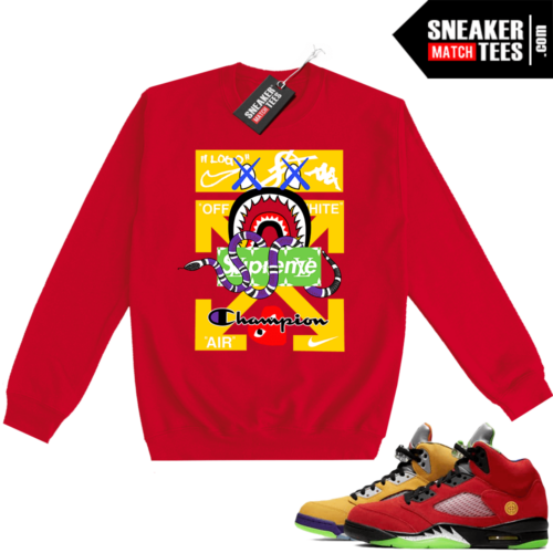 What the 5s Sweatshirt Crewneck Red Designer Mashup