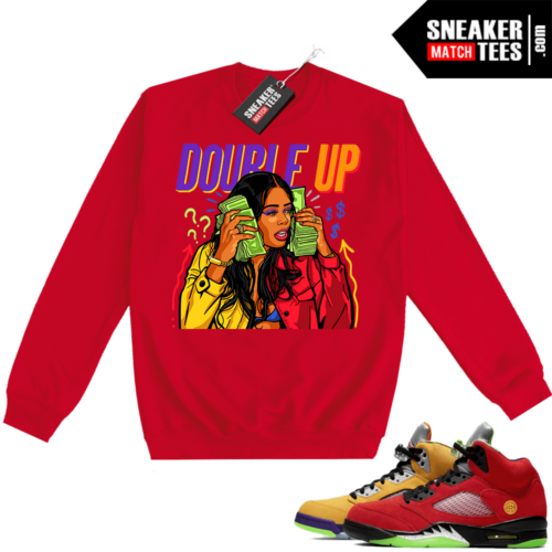 What the 5s Sweatshirt Crewneck Red Double Up Gang