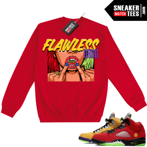 What the 5s Sweatshirt Crewneck Red Flawless Gang