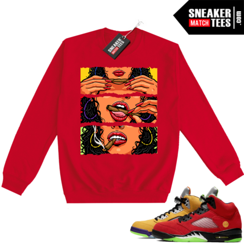 What the 5s Sweatshirt Crewneck Red Get Lit