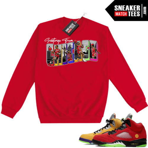 What the 5s Sweatshirt Crewneck Red Greetings From Chicago