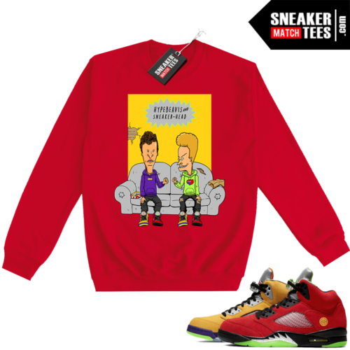 What the 5s Sweatshirt Crewneck Red Hype Beavis and Sneakerhead
