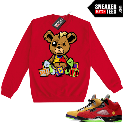 What the 5s Sweatshirt Crewneck Red Misfit Teddy