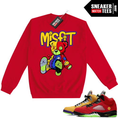 What the 5s Sweatshirt Crewneck Red Misfit Voodoo Sneaker Bear