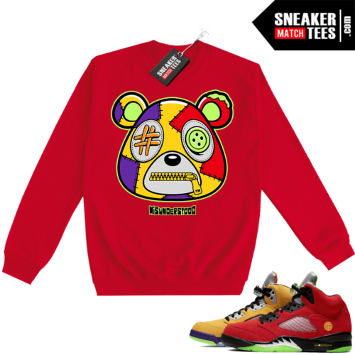 What the 5s Sweatshirt Crewneck Red Misunderstood Bear