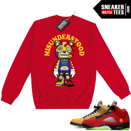 What the 5s Sweatshirt Crewneck Red Misunderstood Bear Toon
