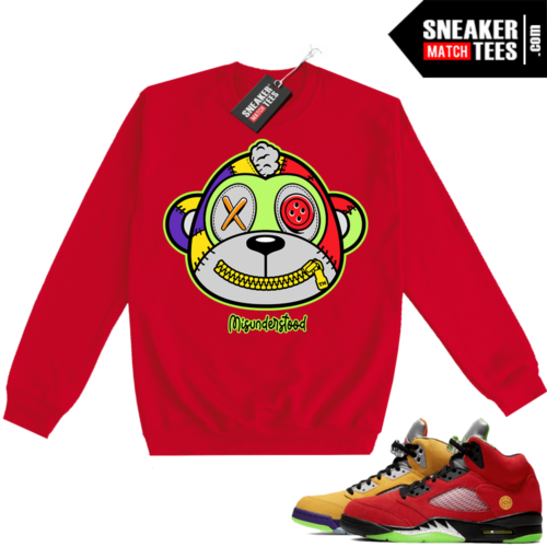 What the 5s Sweatshirt Crewneck Red Misunderstood Monkey