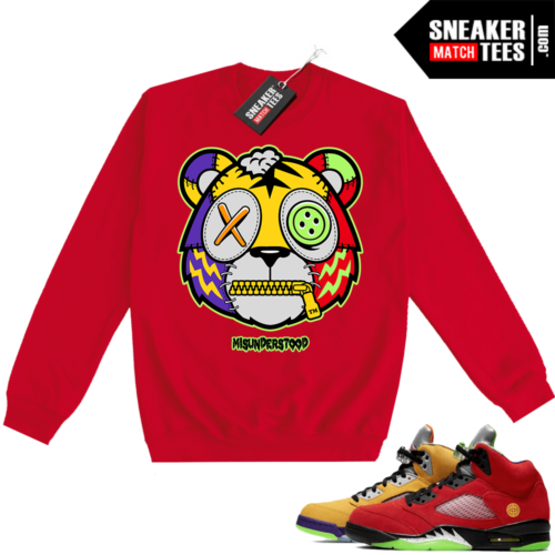 What the 5s Sweatshirt Crewneck Red Misunderstood Tiger