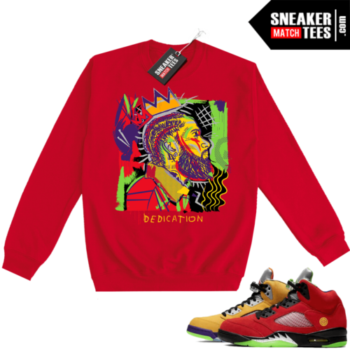 What the 5s Sweatshirt Crewneck Red Nipsey Basquiat