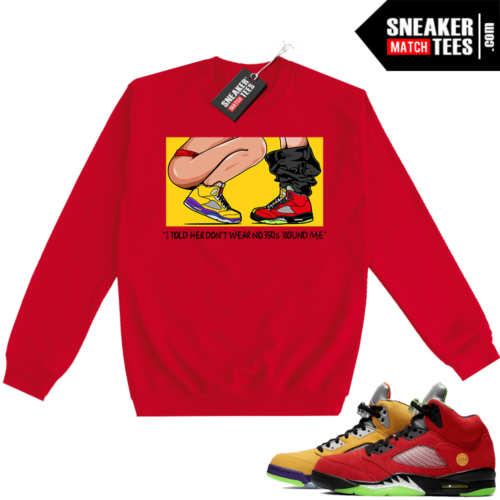 What the 5s Sweatshirt Crewneck Red No 350s