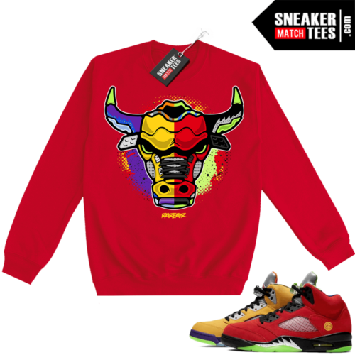 What the 5s Sweatshirt Crewneck Red Rare Air Bull