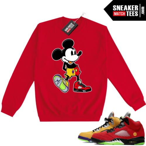 What the 5s Sweatshirt Crewneck Red Sneakerhead Mickey