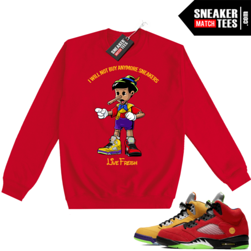 What the 5s Sweatshirt Crewneck Red Sneakerhead Pinocchio
