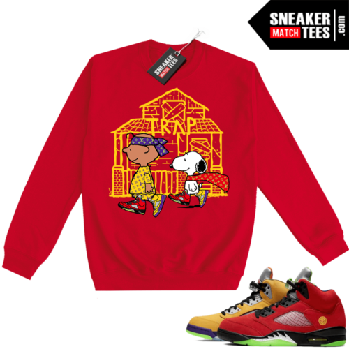 What the 5s Sweatshirt Crewneck Red Snoopy Trap House