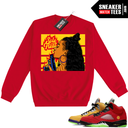 What the 5s Sweatshirt Crewneck Red Sole Heat