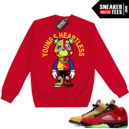 What the 5s Sweatshirt Crewneck Red Young & Heartless Bear Toon