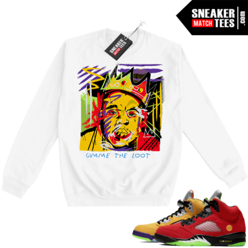 What the 5s Sweatshirt Crewneck White Biggie Basquiat