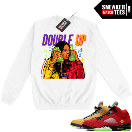 What the 5s Sweatshirt Crewneck White Double Up Gang