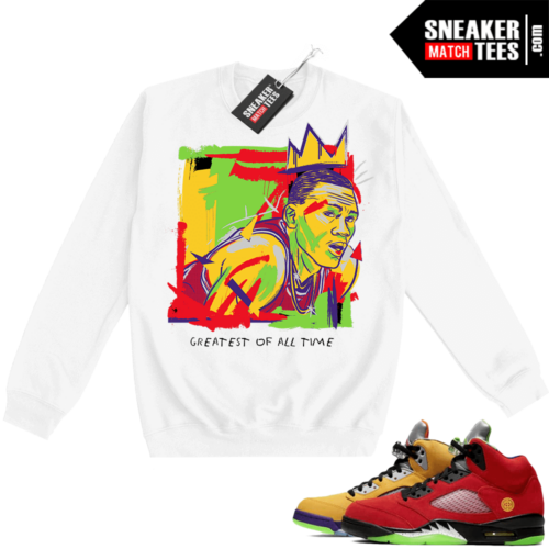 What the 5s Sweatshirt Crewneck White Goat Basquiat