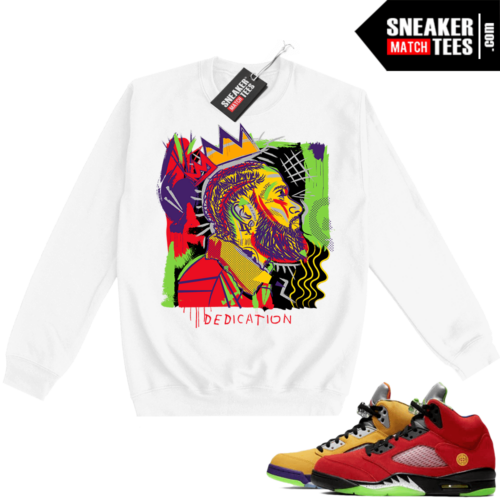 What the 5s Sweatshirt Crewneck White Nipsey Basquiat