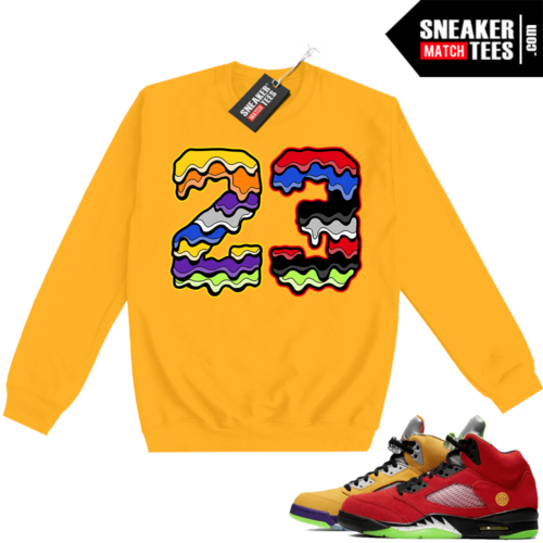 What the 5s Sweatshirt Crewneck Yellow 23 Drip