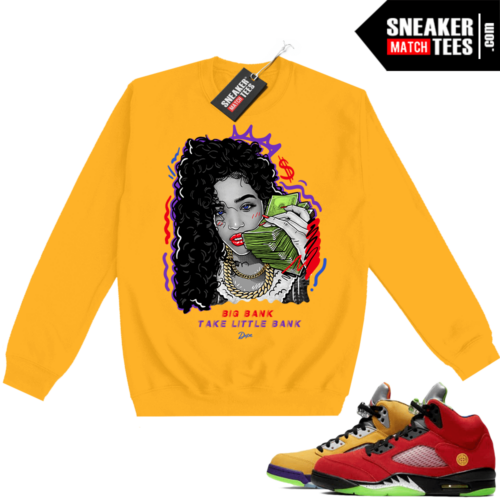 What the 5s Sweatshirt Crewneck Yellow Big Bank