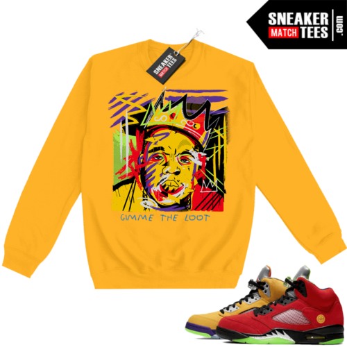 What the 5s Sweatshirt Crewneck Yellow Biggie Basquiat