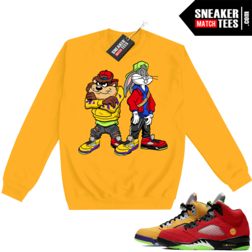 What the 5s Sweatshirt Crewneck Yellow Bugz and Taz