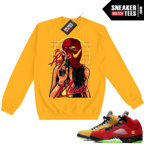 What the 5s Sweatshirt Crewneck Yellow By Any Means