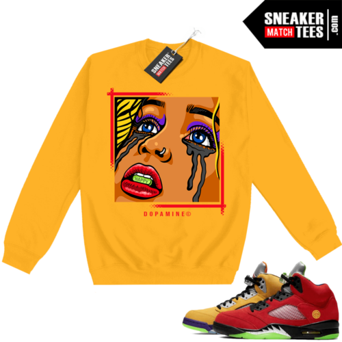 What the 5s Sweatshirt Crewneck Yellow DOPAMINE