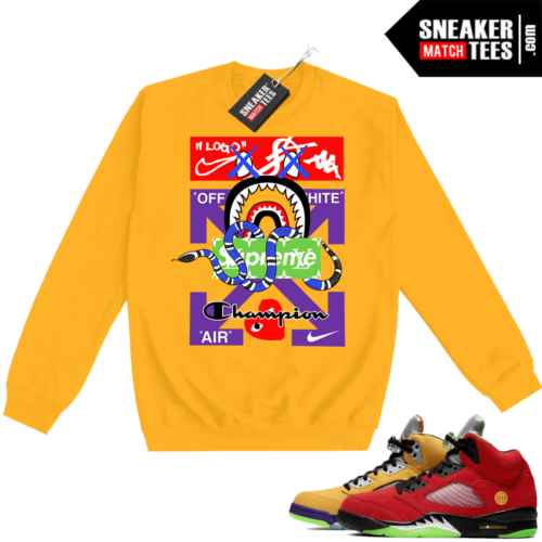 What the 5s Sweatshirt Crewneck Yellow Designer Mashup