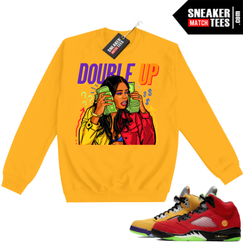 What the 5s Sweatshirt Crewneck Yellow Double Up Gang