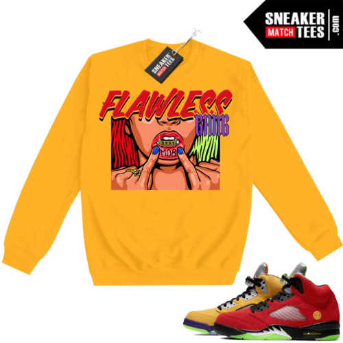 What the 5s Sweatshirt Crewneck Yellow Flawless Gang