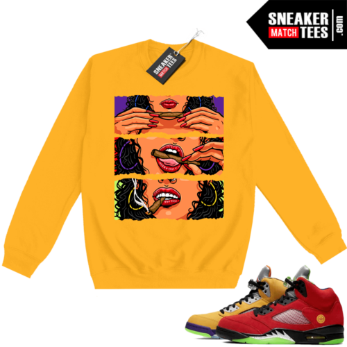 What the 5s Sweatshirt Crewneck Yellow Get Lit