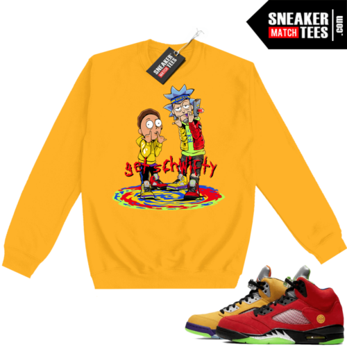 What the 5s Sweatshirt Crewneck Yellow Get Schwifty