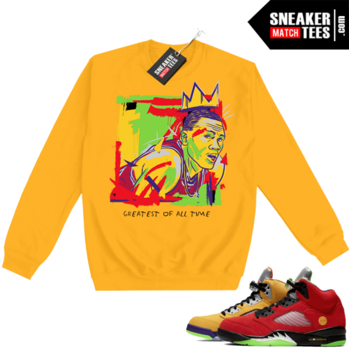 What the 5s Sweatshirt Crewneck Yellow Goat Basquiat