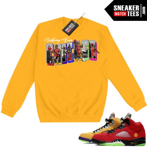 What the 5s Sweatshirt Crewneck Yellow Greetings From Chicago