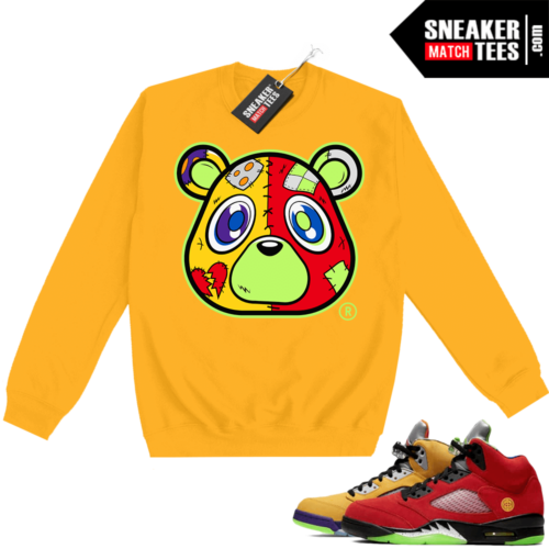 What the 5s Sweatshirt Crewneck Yellow Heartless Bear