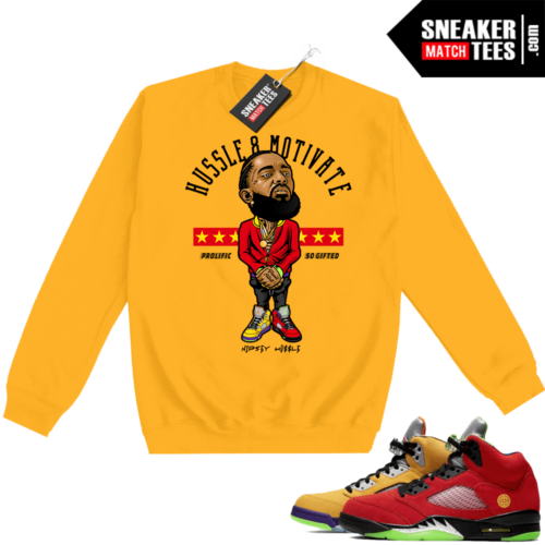 What the 5s Sweatshirt Crewneck Yellow Hussle Motivate