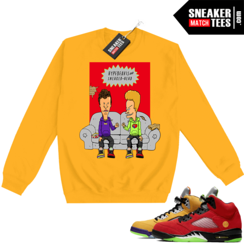 What the 5s Sweatshirt Crewneck Yellow Hype Beavis and Sneakerhead