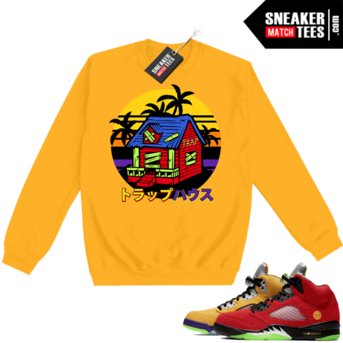 What the 5s Sweatshirt Crewneck Yellow Kame Trap House