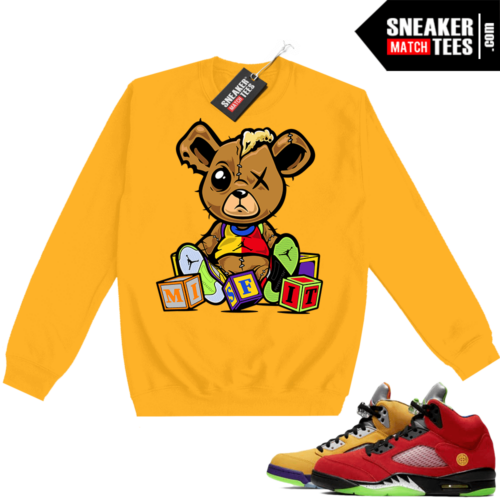 What the 5s Sweatshirt Crewneck Yellow Misfit Teddy