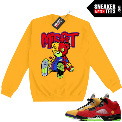 What the 5s Sweatshirt Crewneck Yellow Misfit Voodoo Sneaker Bear
