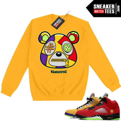What the 5s Sweatshirt Crewneck Yellow Misunderstood Bear
